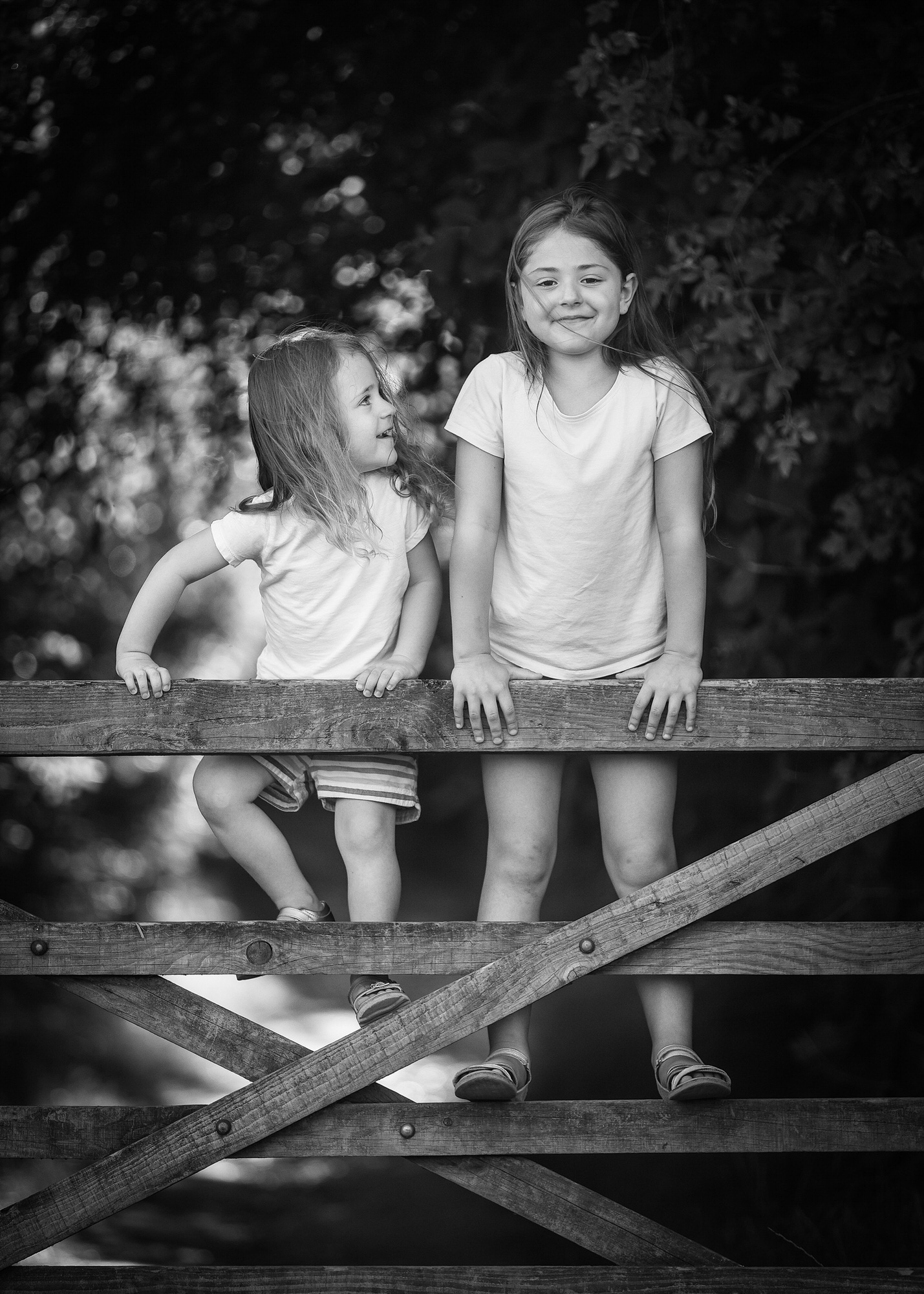 two girls standing on a gate at a family photo shoot in Codicote near Hitchin