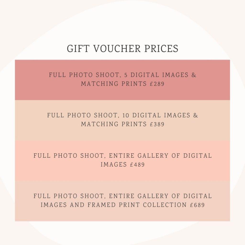 photo gift voucher price list